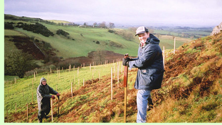 Alistair McConnachie planting a woodland